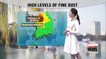 Warmer temperatures under high concentrations of fine dust