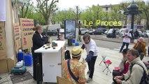 Attac Savoie repeint en blanc la BNP, pour dénoncer la politique d'évasion fiscale des banques françaises