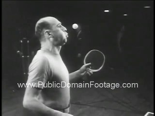 1946 National Ping Pong Championships and tricks Newsreel - stock footage - PublicDomainFootage.com