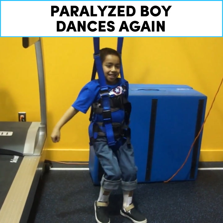 Paralyzed boy dances again