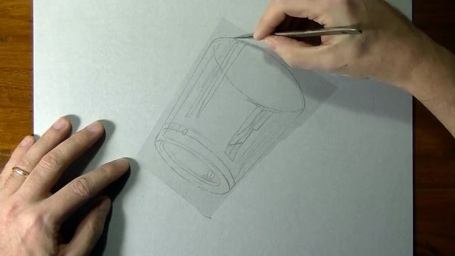 Drawing of a simple glass - How to draw 3D Art-1UsUC8bDvEw