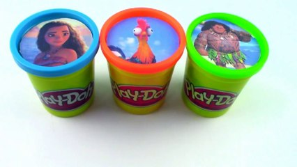 Learn Colors Modeling Clay DISNEY MOANA learn Colors Play Doh Cans Surprise Toys Modelling Clay-1