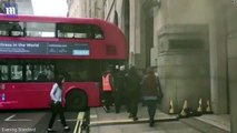 London double-decker bus driver gets wedged in a street _2017