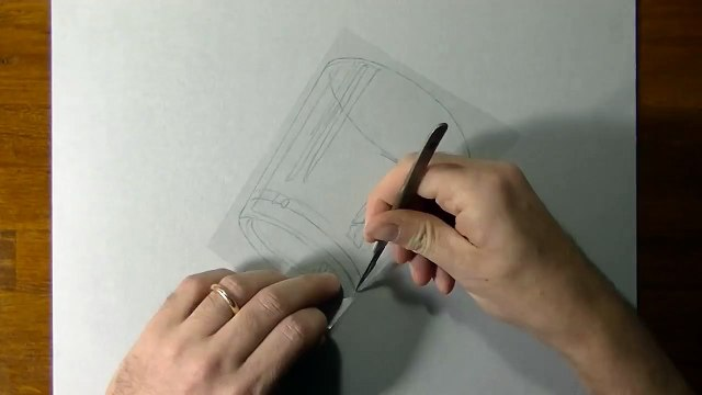 Drawing of a simple glass - How to draw 3D Art-1