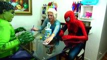 Spiderman Cooking Big Mac with Frozen Elsa & Hulk - Fun Superheroes Movie In Real Life-XYBwS