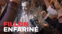 François Fillon enfariné au meeting de Strasbourg