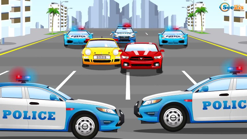 Carros de carreras y Coche de Policía - Videos Para Niños - Carritos!