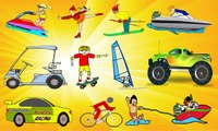 Sports Vehicles for Kids - Racing Car Bike Formula Rally GT Golf Cart Skating Skiing Skateboarding