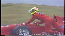 Formula Nippon Fuji Rd 10 1996 Schumacher spins (Funny Japanese commentary)