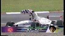 Formula Nippon Fuji Rd 3 1996 Restart Takagi spins (Funny japanese commentary)