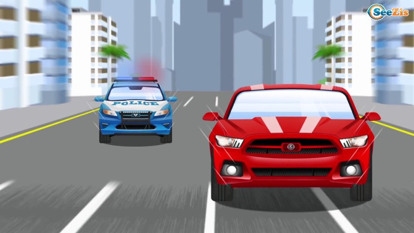The Blue Police Car and Big Bus on the road Kids Animation Emergency Vehicles Cars & Trucks Cartoon