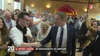 La campagne de Nicolas Dupont-Aignan suivie par les caméras de France 2