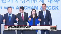 Democratic Party front-runner Moon meets with foreign business leaders in Korea