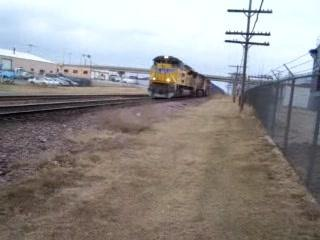 UP SD70ACe 8386 leads a stack train
