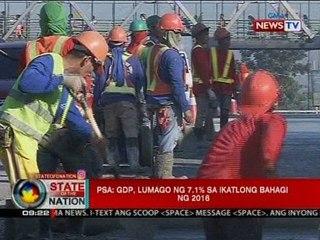 SONA: PSA: GDP, lumago ng 7.1% sa ikatlong bahagi ng 2016