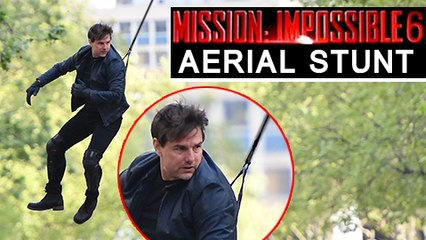 Tom Cruise's AERIAL STUNT For Mission Impossible 6   Tom Cruise In Harness Shooting 'MI 6 : Gemini' Stunt