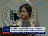 SAKSI: De Lima: Government asset at hindi taga-kubra ng pera si Jaybee Sebastian