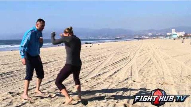 Ronda Rousey vs. Miesha Tate 2- Rousey Beach workout