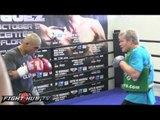 Miguel Cotto vs. Delvin Rodriguez: Cotto full mitt work out w/ Freddie Roach
