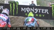 MXGP of Trentino race 2 Antonio Cairoli passes Jeffrey Herlings and Evgeny Bobryshev