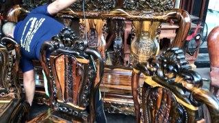 Bàn ghế phòng ăn bằng Gỗ Mun hoa nguyên
