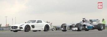 VÍDEO: Drag Race: Mercedes-F1 W03 contra Mercedes SLS AMG Black Series