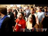 Evander Holyfield and fans react to the result of Manny Pacquiao vs. Timothy Bradley