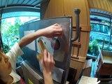 和紙を熱で乾燥させます