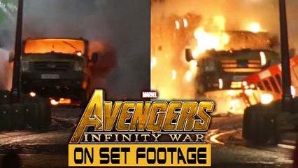 Avengers Infinity War ON SET FOOTAGE | Car Blast Scene