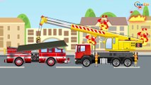 Learn Colors & Vehicles Red Fire Truck & Police car w Racing Cars! Animation Cars & Trucks Cartoons