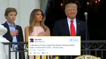 Twitter Reacts to Melania Trump's National Anthem Nudge
