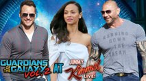 Chris Pratt, Zoe Saldana Promote Guardians of the Galaxy Vol. 2 At Jimmy Kimmel Live! | Dave Bautista