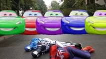 Spiderman Got Crashed By Colors McQueen!!! Superheroes Fun Disney Cars Children Action Movies IRL