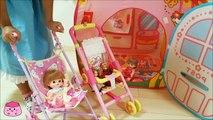 メルちゃん リカちゃん いっしょにベビーカーでお散歩 おうちへ遊びに行ったよ お家ごっこ Baby Doll Mell chan Baby Stroller & Tent House & Licca
