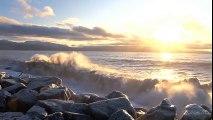 ソフトな音楽やリラックスなるように岩を打つ弛緩シーサウンド波の音 part 2/2