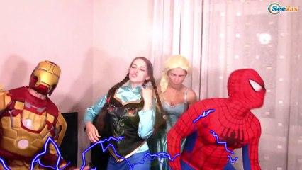 Spiderman POO FIRE Prank w/ Frozen Elsa vs Joker - Superhero Fun in Real Life