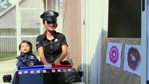 Police Drive Thru Dunkin Donuts w_ Catwoman, Princess Rapunzel, Snow White, Spiderman-Q_
