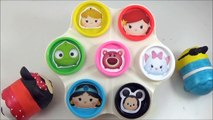 LEARN COLORS with Disney Tsum Tsums! Play doh Toy Surprise Cans, Disney ツムツム Toys-b4IAERtgk