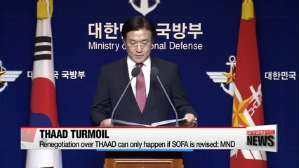 S. Korea's defense ministry says U.S. will pay for THAAD battery
