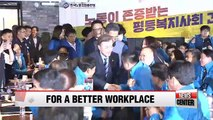 Moon pledges to improve working conditions for ordinary Koreans