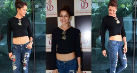 Pia Bajpai In Black Crop Top At Clinic Opening