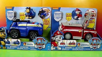 Paw Patrol On-A-Roll Chase Police Car & On-A-Roll Marshall Fire Truck transforms and Rolls
