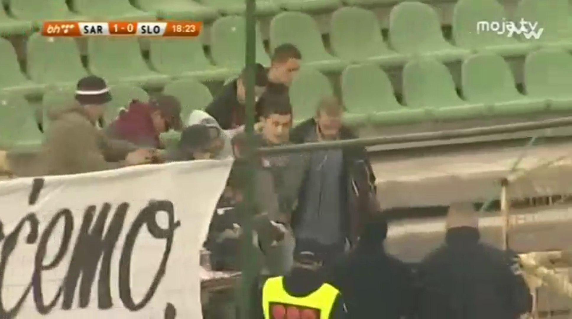 Užas - Navijač povrijeđen nakon topovskog udara (FK Sarajevo - FK Sloboda)