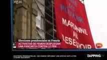 Marine Le Pen - Présidentielle 2017 : des militantes Femen déploient une affiche anti-Le Pen à Hénin-Beaumont (vidéo)