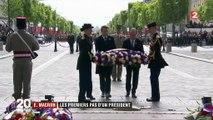 Emmanuel Macron et François Hollande côté à côte pour la cérémonie du 8-Mai