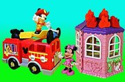 Mickey Mouse Clubhouse Save the Day Fire Truck with Minnie Mouse House Having Play Doh Fire
