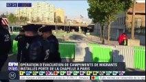 Paris: les campements de migrants évacués Porte de la Chapelle