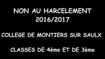 """Production du collège de la Haute Saulx de Montiers-sur-Saulx - Prix """"Non au harcèlement"""""""