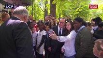 Séance de selfies pour François Hollande aux commémorations du 10 mai