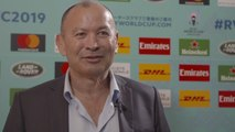 Reaction: England head coach Eddie Jones reacts to Rugby World Cup draw